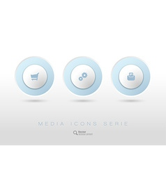 Rounded buttons with business icons and symbols vector