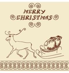 Christmas deer doodles vector image