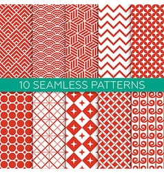 Set of monochrome geometric seamless patterns vector