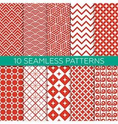 Set of monochrome geometric seamless patterns vector image