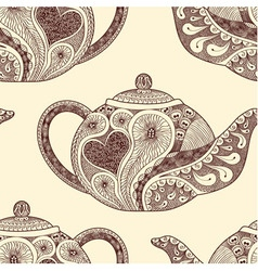 Seamless pattern made of patterned teapots vector image