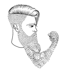 The serious man with a long beard in the form of a vector