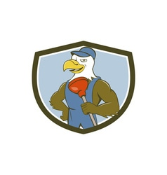 Bald eagle plumber plunger crest cartoon vector