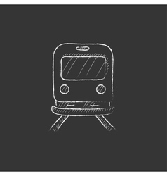Back view of train drawn in chalk icon vector