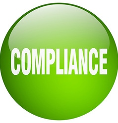 Compliance green round gel isolated push button vector
