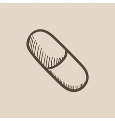 Capsule pill sketch icon vector
