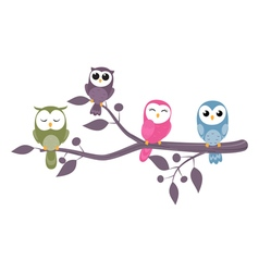 Owls family sitting on branch vector