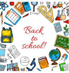 Back to school poster of classes supplies vector