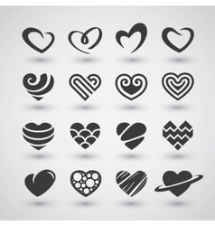 Black hearts icons set vector image vector image