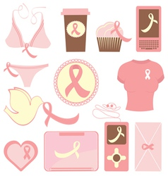 Breast cancer items vector image
