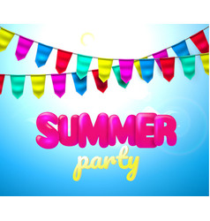 bunting summer party 3d flag cloud sky vector image