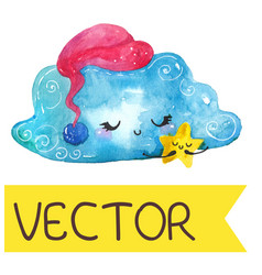 Cartoon night scene with cute cloud and star vector
