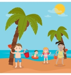 Children Sea Vacation Girl and Boy in the Beach vector image vector image