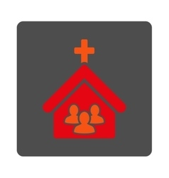 Church rounded square button vector