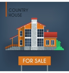 Country house with red roof vector