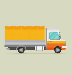 Delivery transport old truck van flat vector