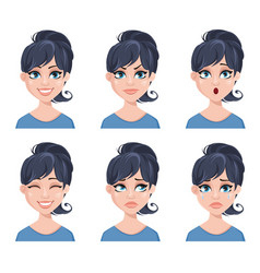different female emotions set vector image