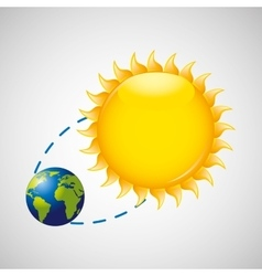Earth rotation the sun icon design vector