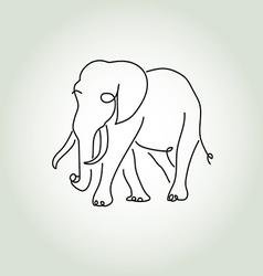 Elephant in minimal line style vector