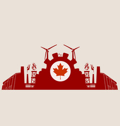 energy and power icons set with canada flag vector image vector image