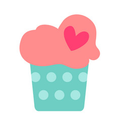 flat color cupcake icon vector image vector image