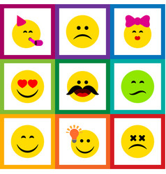 Flat icon expression set of frown cheerful have vector