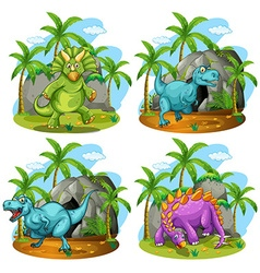 Four dinosaurs standing in the field vector image vector image