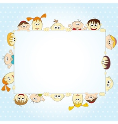 Group of happy people holding empty banner - vector