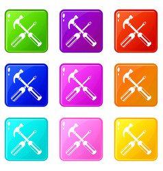 Hammer and screwdriver icons 9 set vector