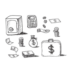 hand drawn business icons vector image vector image