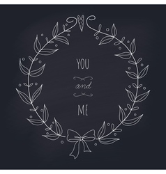 Hand drawn wedding wreath on chalkboard vector