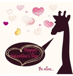 Happy Valentines day card with girafe vector image