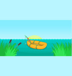 Lake fishing horizontal banner cartoon style vector