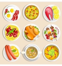 Main Dishes Set vector image