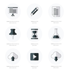 Office icons flat design black and white color vector