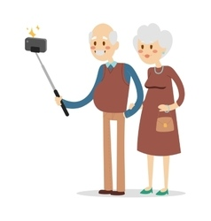 Selfie photo shot grandpa and grandma vector