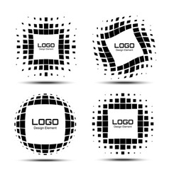 Set of Abstract White Halftone Design Elements vector image vector image
