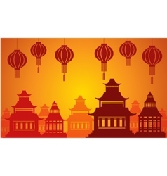 Silhouette of pavilion and lanterns vector