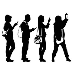 Silhouettes of people busy with cell phones vector