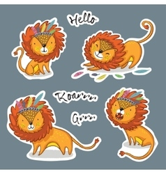 Sticker set of cartoon lion action vector
