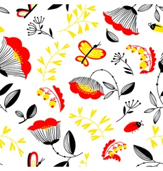 Summer decorative seamless background with flowers vector