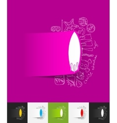 surfing paper sticker with hand drawn elements vector image