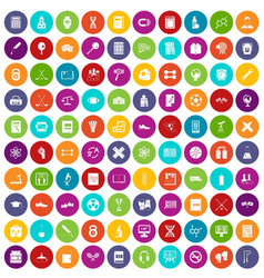 100 college icons set color vector