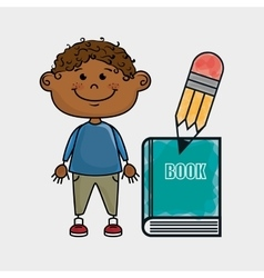 Boy student book pencil vector