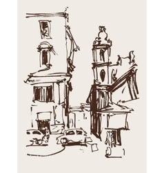 Freehand sketch seria drawing of rome italy vector