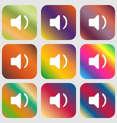 Speaker volume sound icon nine buttons with bright vector