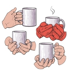 Set of female hands holding a cup with hot vector