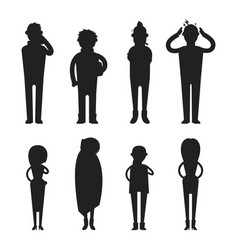 Illness flu people feeling cold silhouette vector
