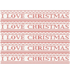 Knitted background i love christmas vector
