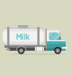 Car with milk flat cartoon vector